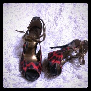 Peep Toe Leopard Heel